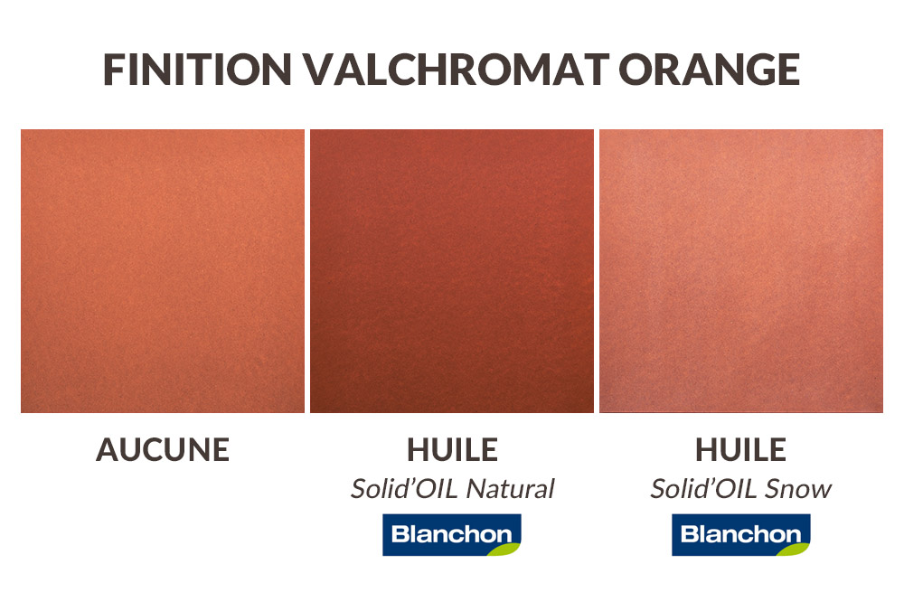 Finition plan de travail valchromat orange