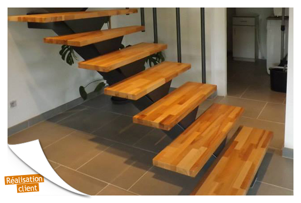 Marches h tre massif nature fsc 100 la boutique du for Escalier bois 5 marches